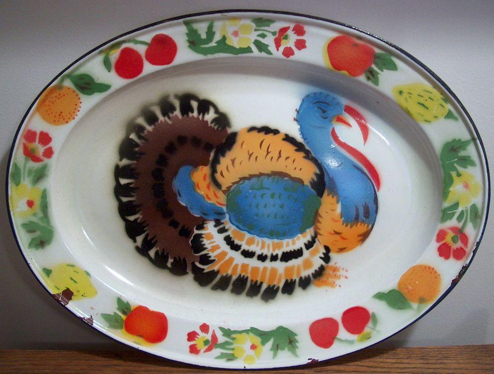 Vtg Enamelware Thanksgiving Turkey Platter Tray OVAL