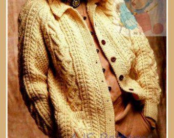 PDF Knitting Pattern  Ladies Cabled Aran by TheKnittingSheep