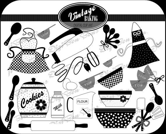 kitchen clipart black and white. vintage baking digital clip art in black white u0026 by digibonbons 450 kitchen clipart and