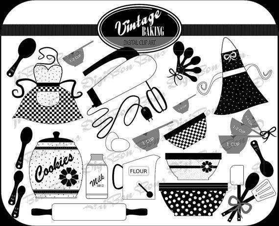 Vintage Baking Digital Clip Art In Black White Gray Cute Retro