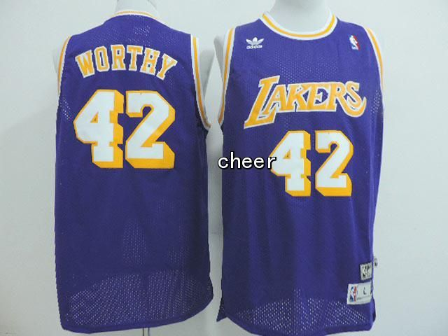 3d1527b007e ... NBA Jersey Los Angeles Lakers 42 worthy blue Jersey Los Angeles Lakers  Jersey 42 James Worthy Purple Throwback Swingman ...