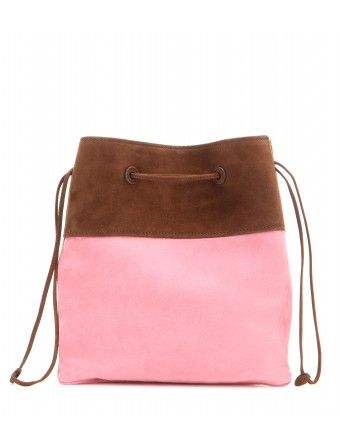 Miu Miu - Small suede bucket bag - The small tote is rendered in baby pink  and brown suede leather and finished with a smooth leather interior 6ad61cc05b0a6