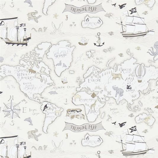 Treasure map wallpaper a delightful childrens wallpaper featuring treasure map wallpaper from sanderson abracazoo collection a delightful childrens wallpaper featuring a whimsical design of the continents and oceans gumiabroncs Choice Image
