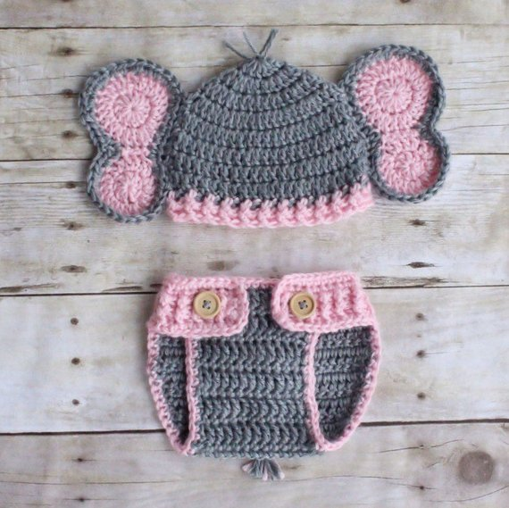272cc46eef9 Baby Girl Elephant Hat and Diaper Cover