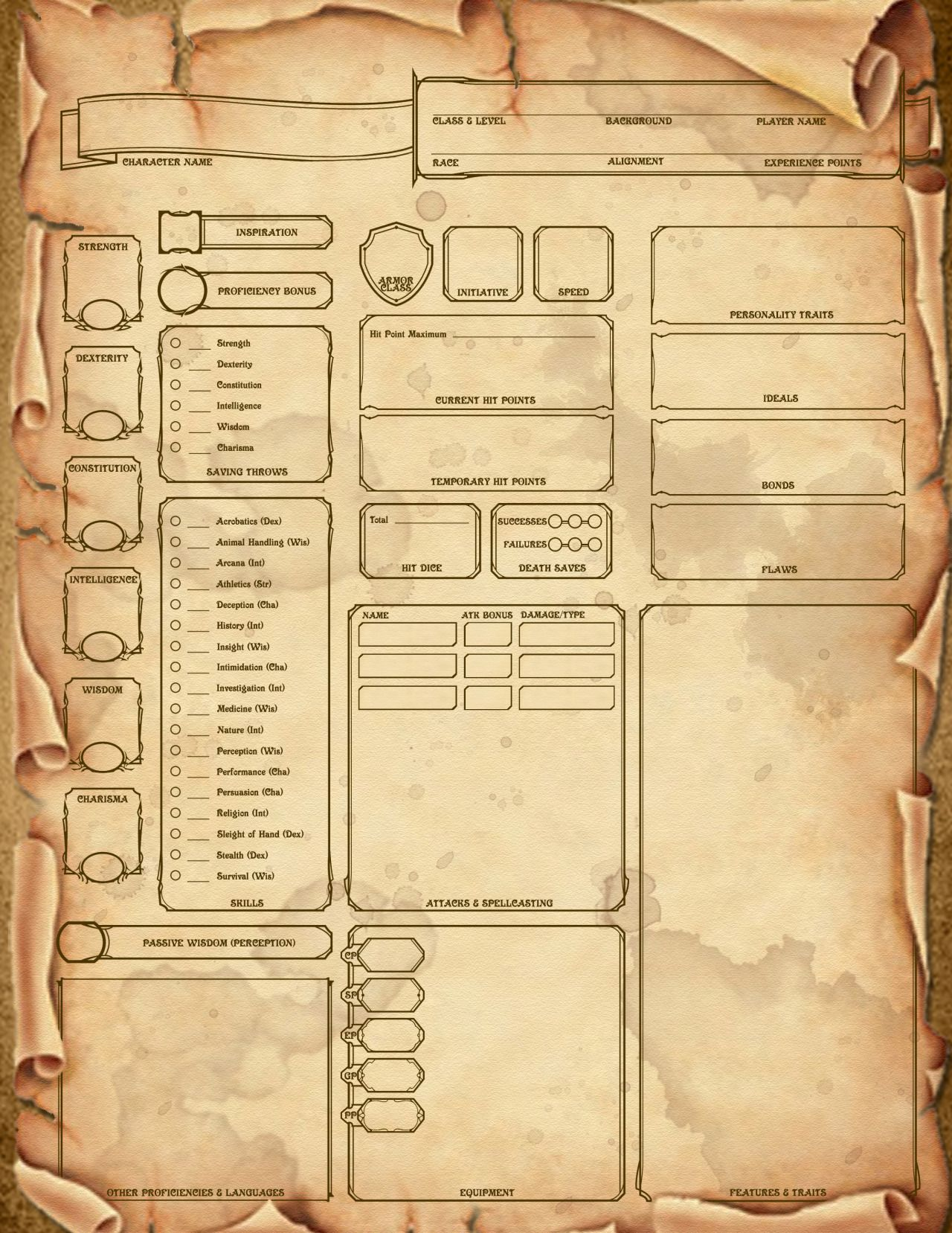 Made A Custom 5th Edition Scroll Themed Character Sheet
