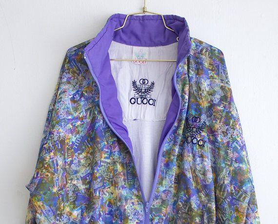 9dab2e79a Vintage Gucci Windbreaker, Rare 80s Gucci Track Jacket, Men Women ...