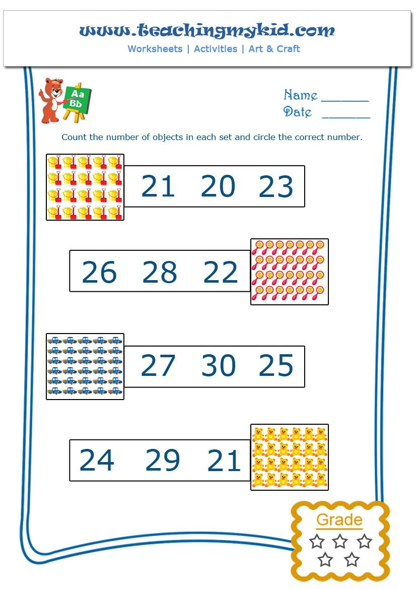 math work  Count and Circle the Number  Worksheet  3