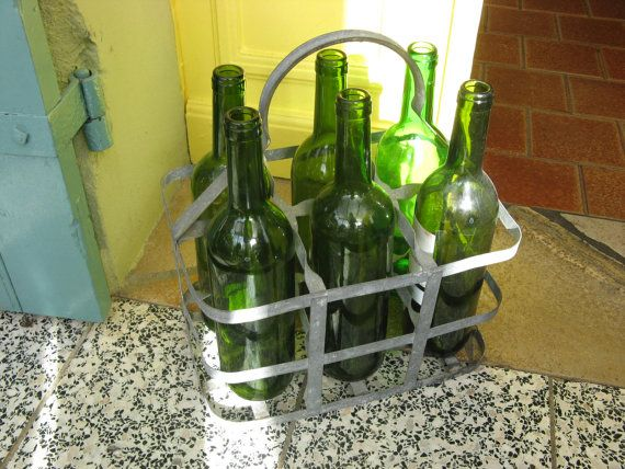 Vintage french bottle carrier kitchenalia french country home decor, $58.00