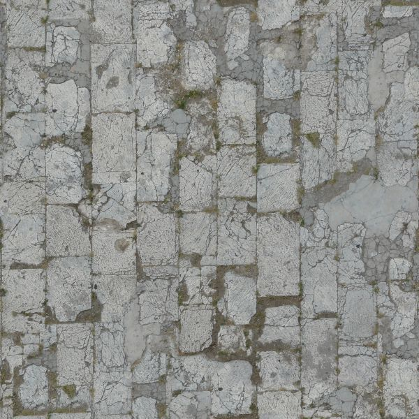 Seamless Pavement Texture Of Light Grey Tone With Very Damaged