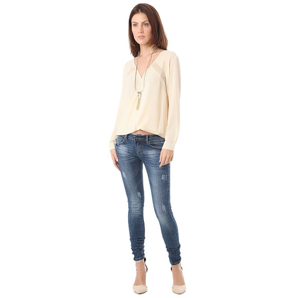 Women's beige long sleeve blouse with lace insert