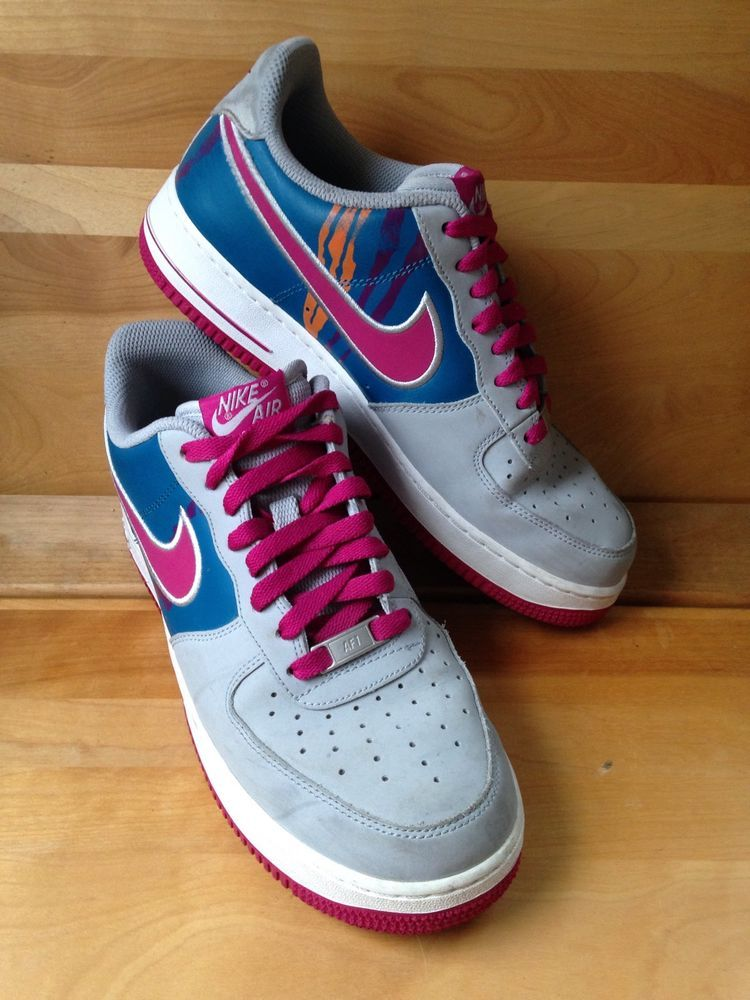 Nike Air Force 1 One Gray Magenta Blue Mens Size 8 5