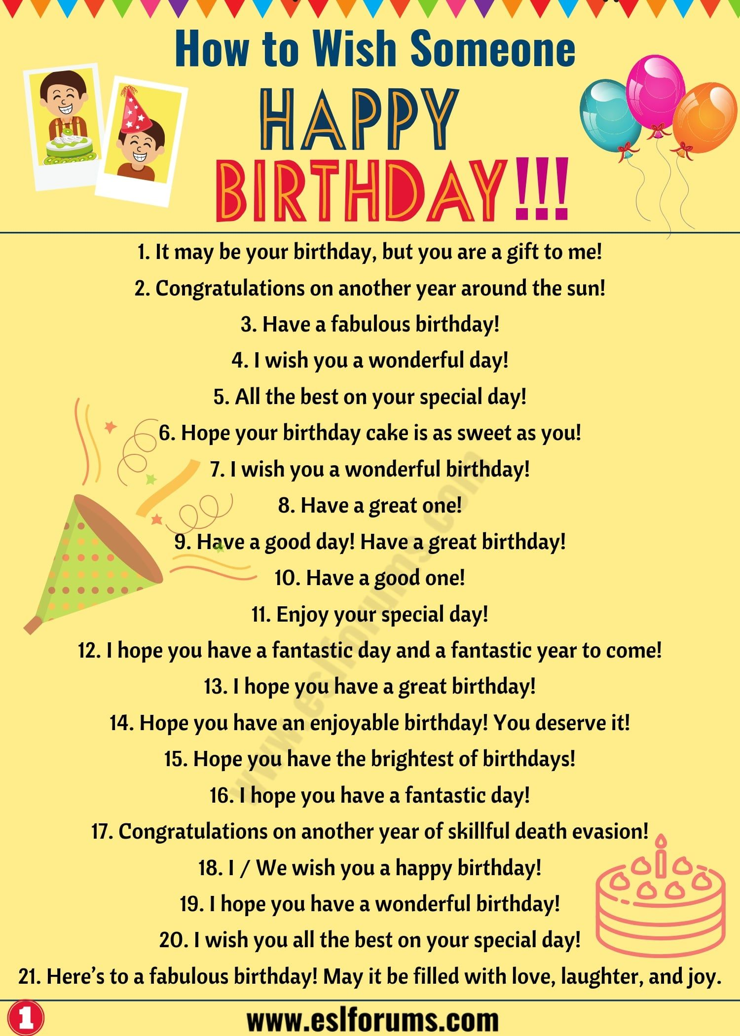 Birthday Wishes 40 Best Happy Birthday Wishes To Friends Others Esl Forums Learn English Words Learn English Happy Birthday Fun