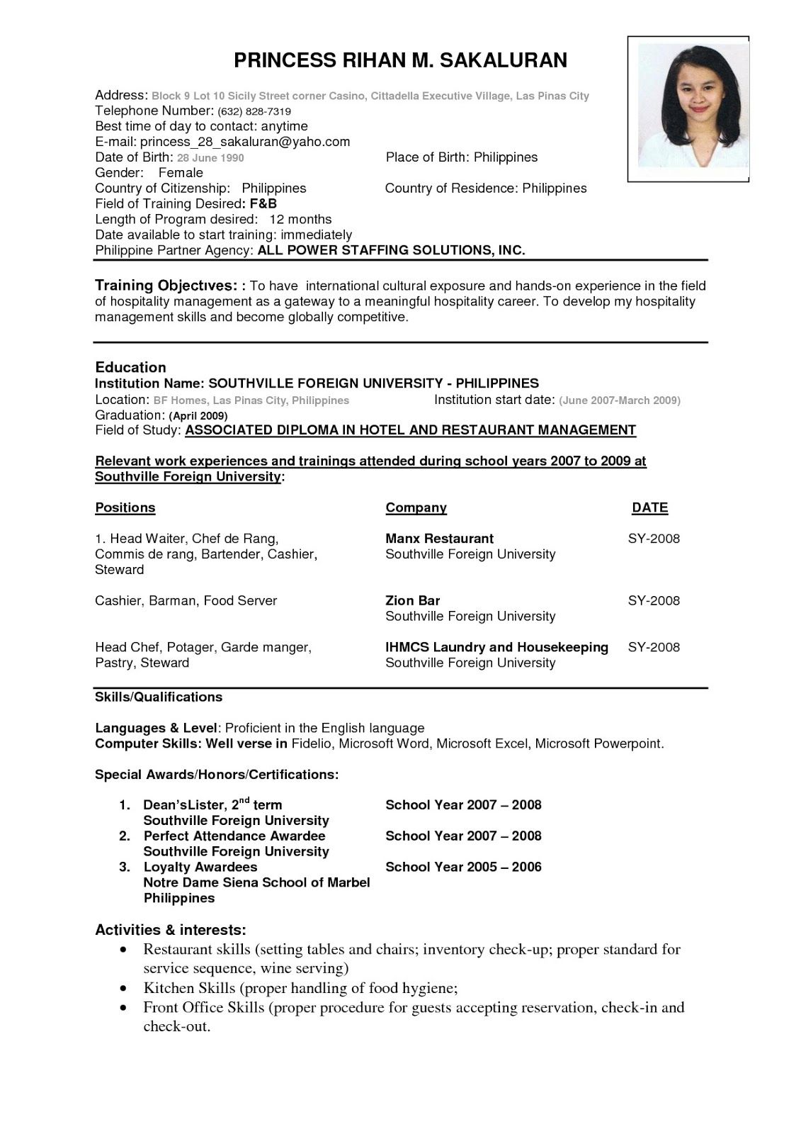 Resume Example For Job Pdf