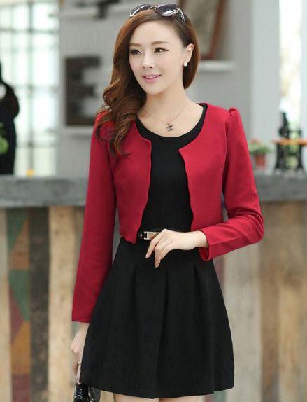 ชุดทำงานสวยดูดีแฟชั่นเกาหลี พร้อมส่ง ชุดเดรสสั้นสีดำ + เสื้อสูทแขนยาวสีแดง เข้าชุดกัน