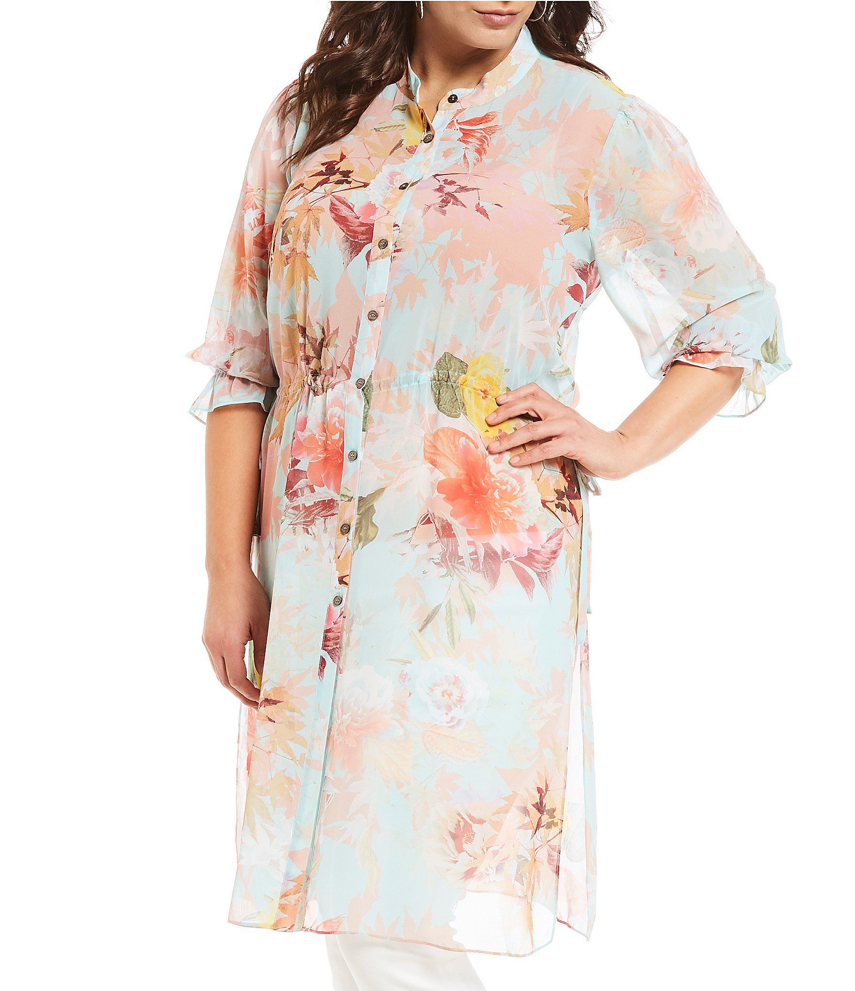 489199180a8 Vince Camuto Plus Size Faded Blooms Floral Print Side Tie Tunic  Dillards