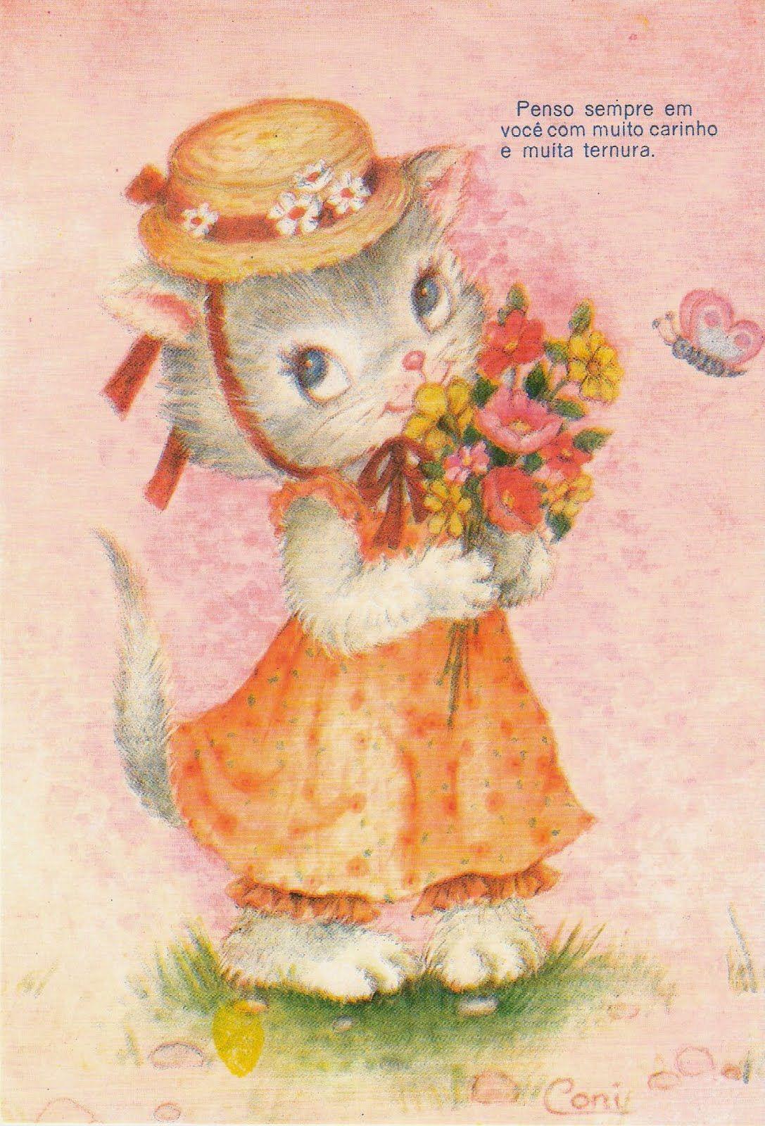 """#papeldecarta #carinho #ternura #kitten """"Penso sempre em você com muito carinho e muita ternura"""" #vintage"""
