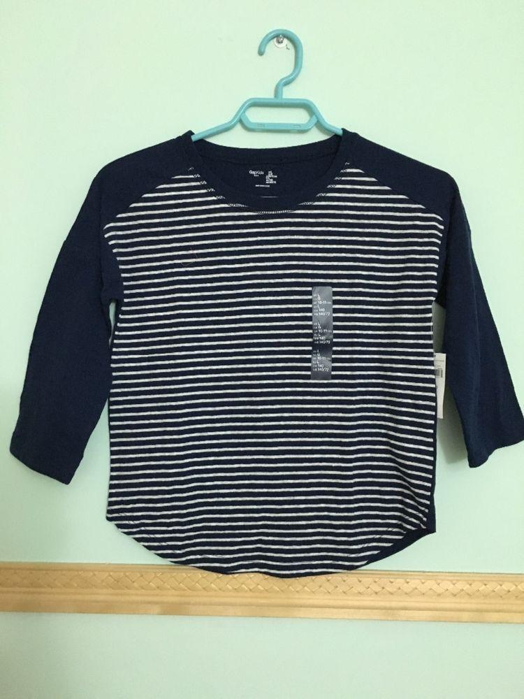 NWT Gap Girl's Dark Blue Striped Top Tee T-Shirt size L  #GapKids #Everyday