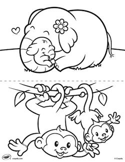 free baby animal coloring pages crafts coloringpages - Baby Animals Coloring Pages