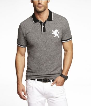 abb8fdfd FITTED MARLED LARGE LION PIQUE POLO | Express. Find this Pin and more on men  shirts ...