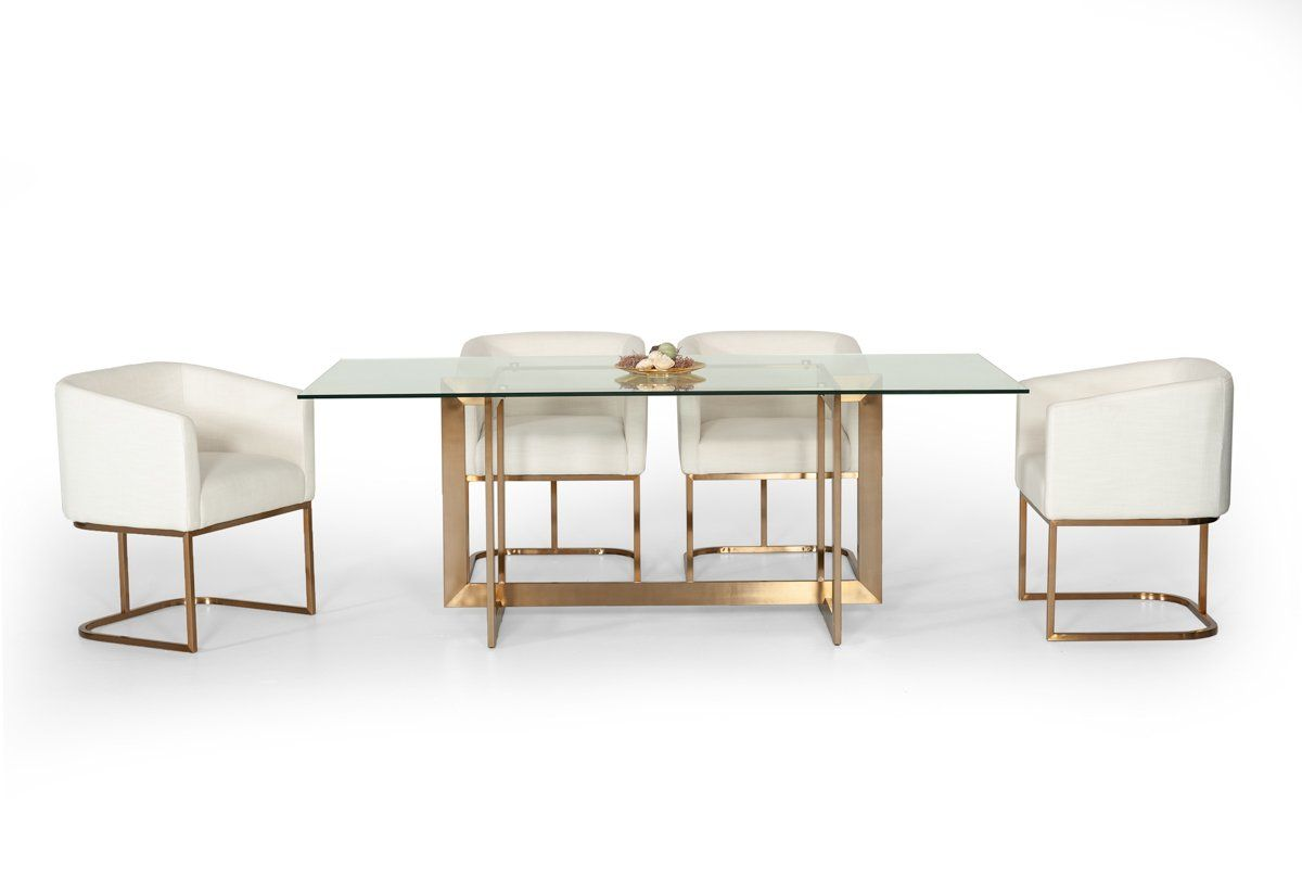 Modrest keaton modern glass u brass dining table products