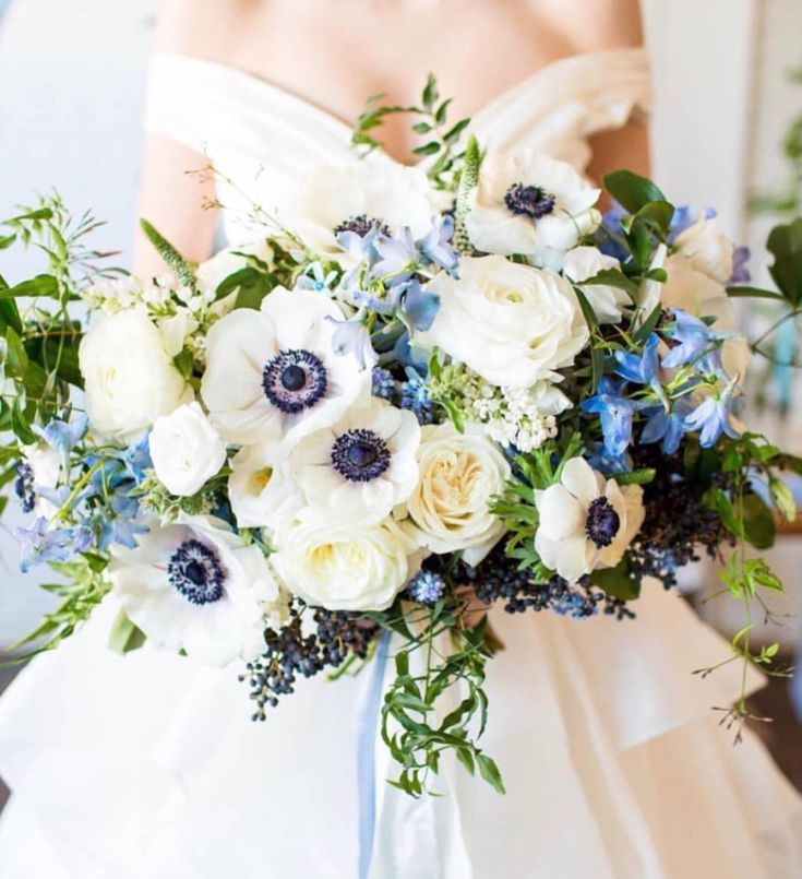 White And Blue Bridal Bouquet With Anemones Delphinium Bridal Bouquet Blue Blue Delphinium Bouquet Blue Wedding Bouquet