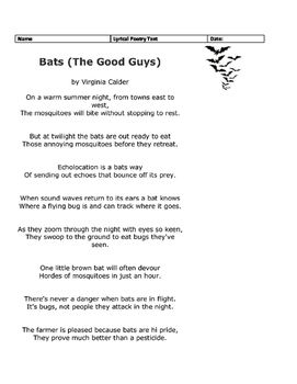 Free Staar Like Questions From 2017 The Poem Bat Good Guys By Virginia Calder