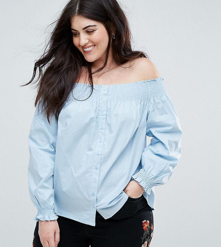 a70f664eb07 New Look Plus New Look Curve Button Through Shirred Bardot Top ...