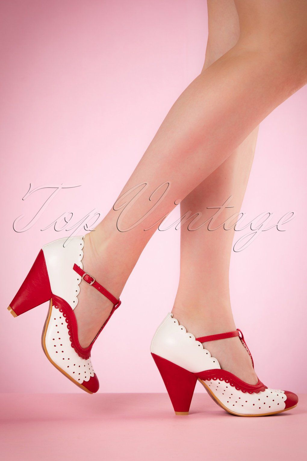 size 40 b89d2 b3153 1940s Paige T-Strap Pumps in Red and White Shoes