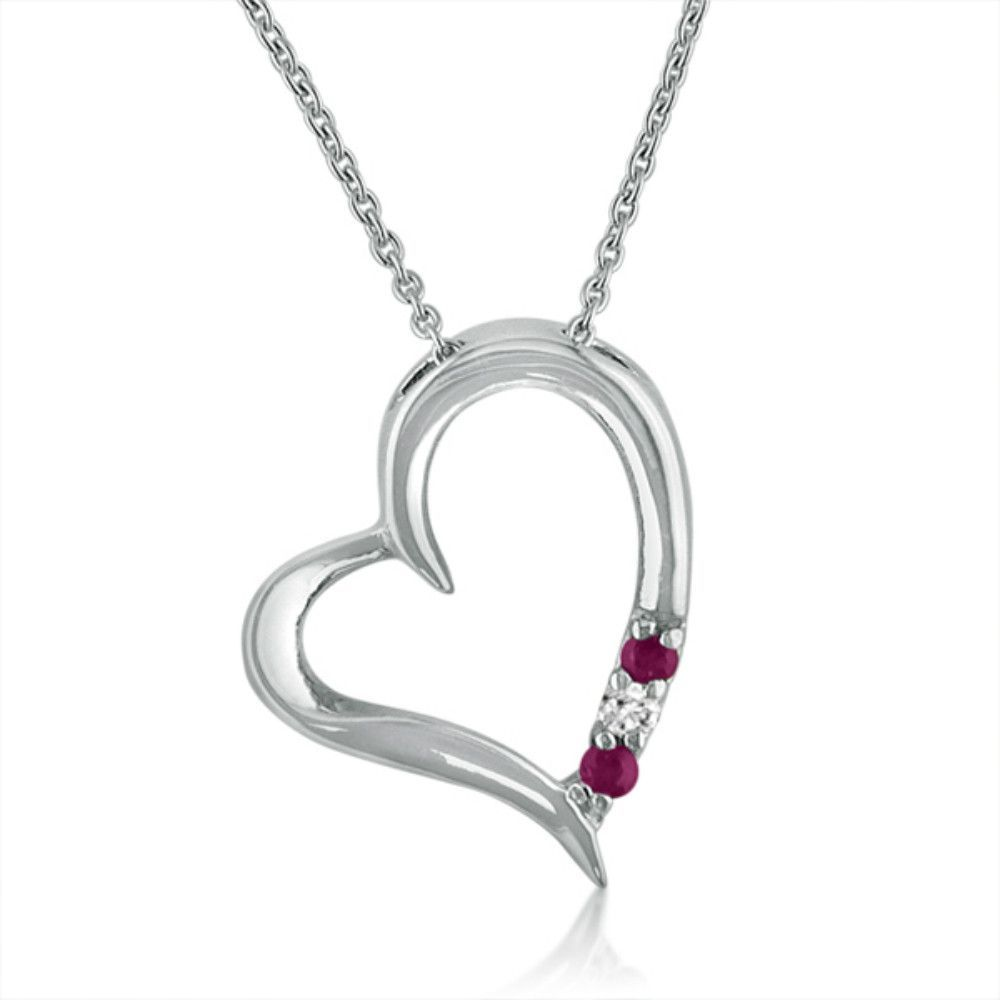 Three stone ruby and diamond heart pendantnecklace set in sterling