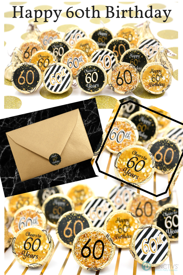 Make This Birthday Milestone Special With These Gold And Black 60th Party Favor Stickers Also Great Envelope Seals 60thbirthday