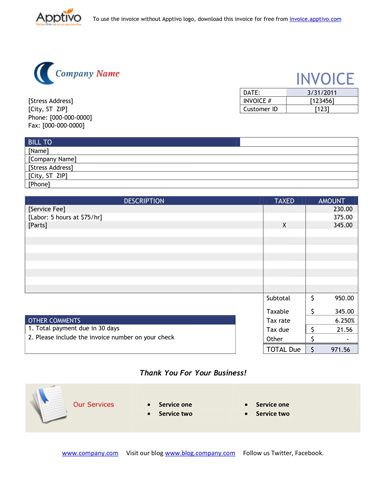 Very Simple Invoice Template With Blue Theme Microsoft Word Invoice Template Invoice Template Invoice Template Word