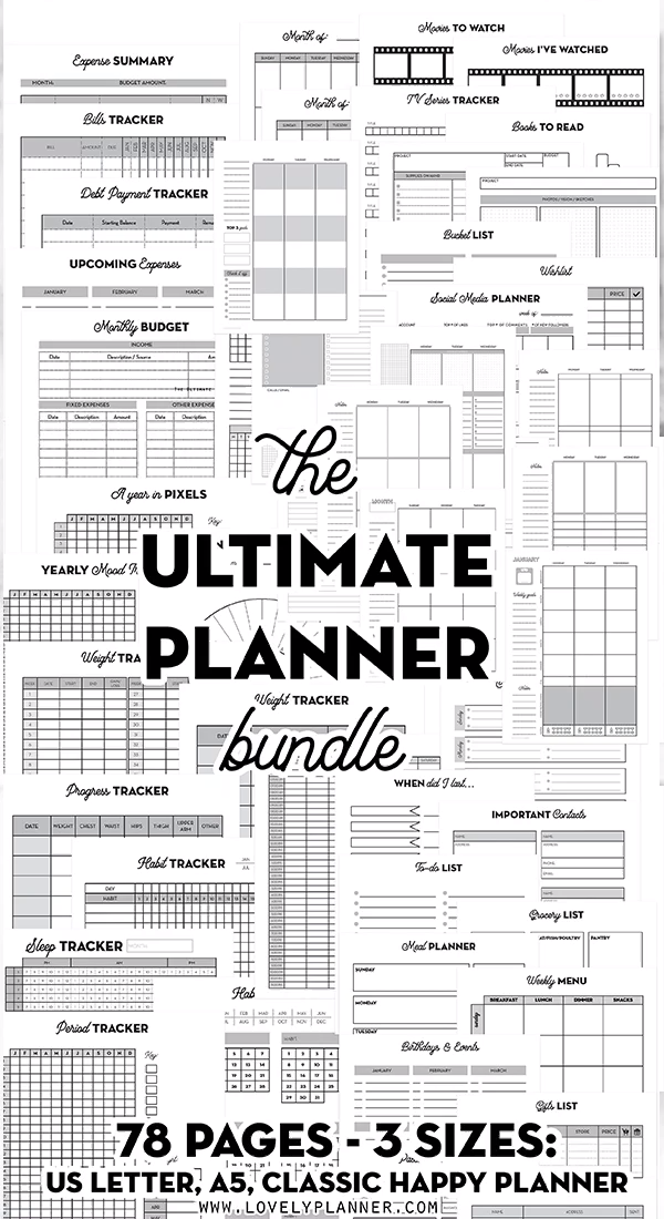 HUGE Pack of Printable Planner Inserts in 3 sizes