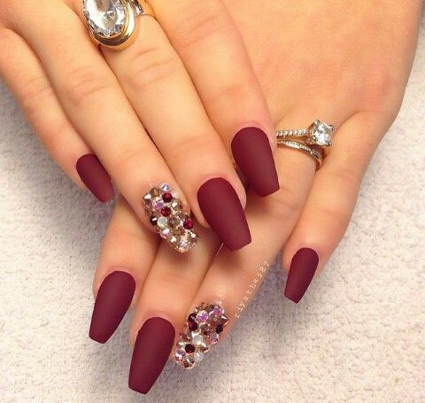 Matte Burgundy Nails With Rhinestones Claw Nails Designs Burgundy Nails Fabulous Nails