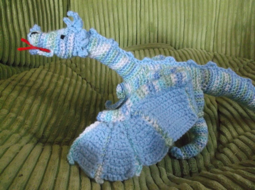 Crochet Dragon | Crochet Blue Dragon with Posable Wings by ...