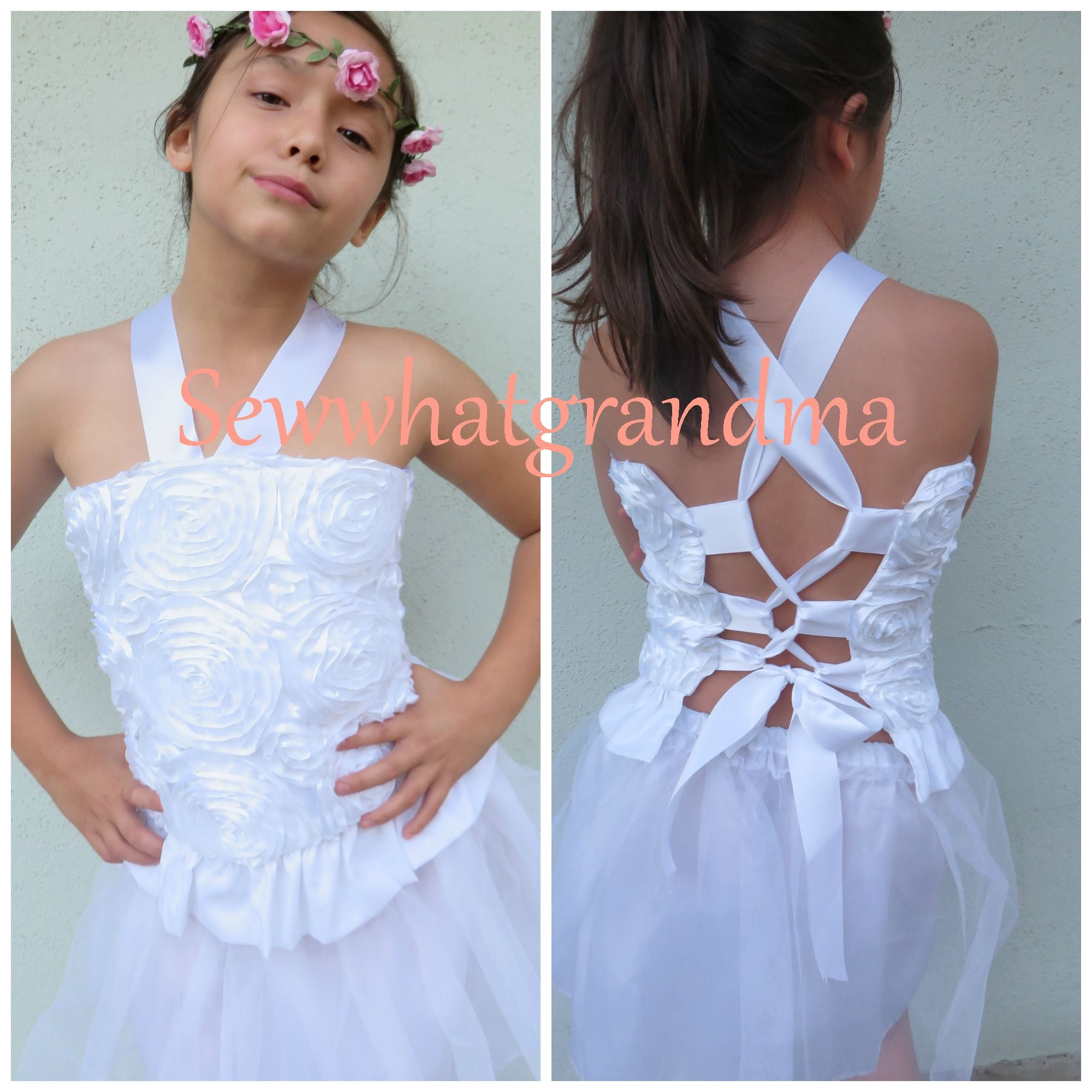 Sample sale! White rosette corset top only, size 10T $25
