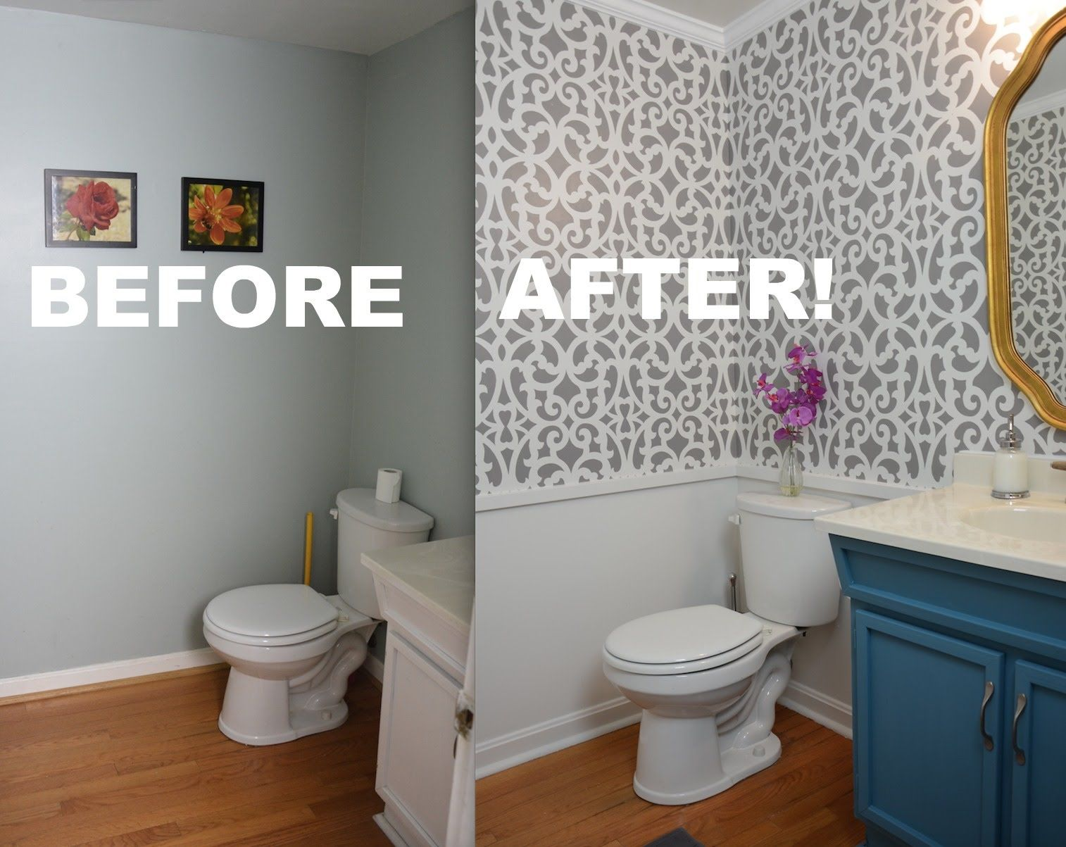 Half Bath Ideas On A Budget: Watch This Small Bathroom Makeover (gray And White