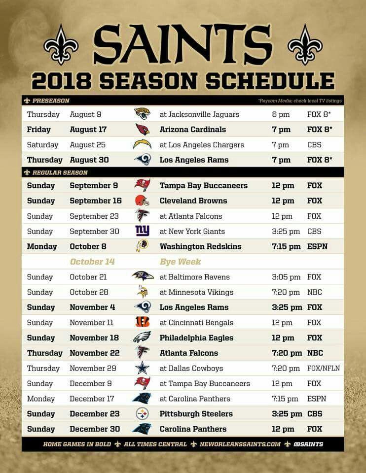 85960ed3 New Orleans Saints 2018 Schedule. #Whodat #GeauxSaints #Whodatnation ...