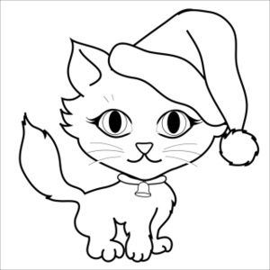 Free Cat Clip Art Image Coloring Page Of A Cute Little Kitten Wearing Santa Hat And Christmas Bell On Its Collar