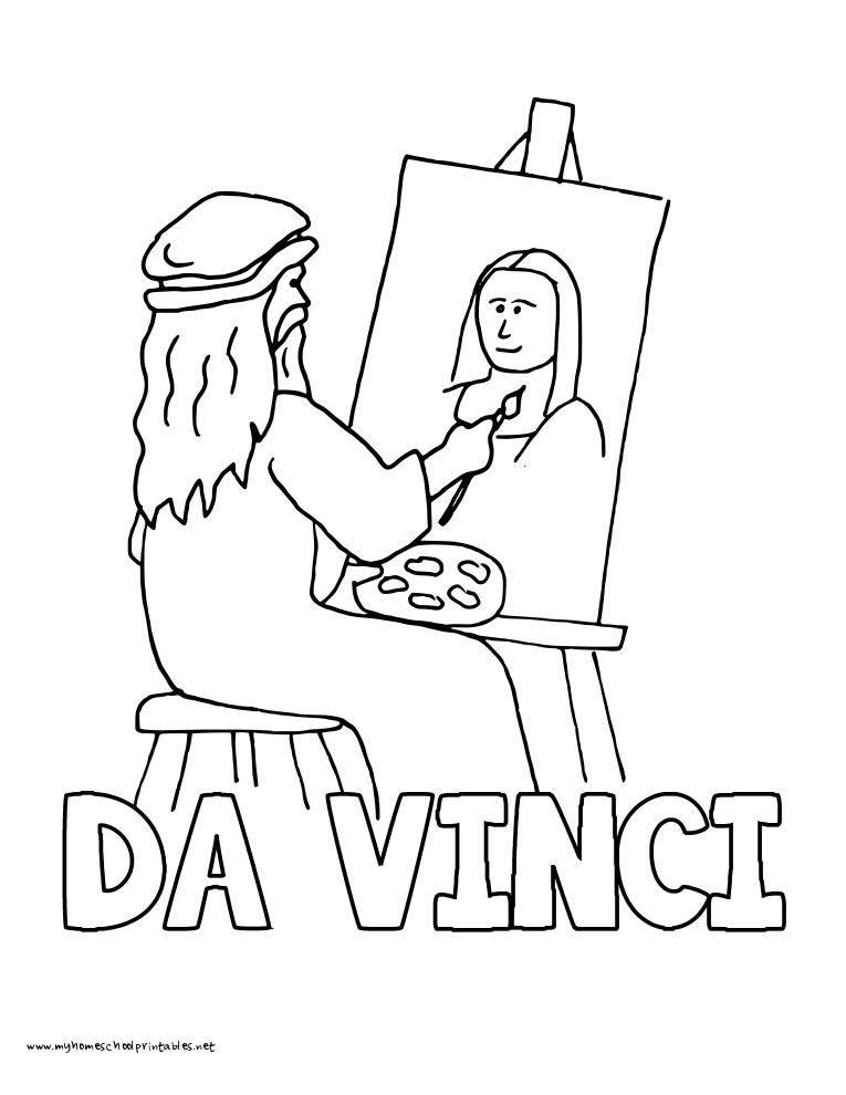 World History Coloring Pages Printables Leonardo DaVinci Mona Lisa ...