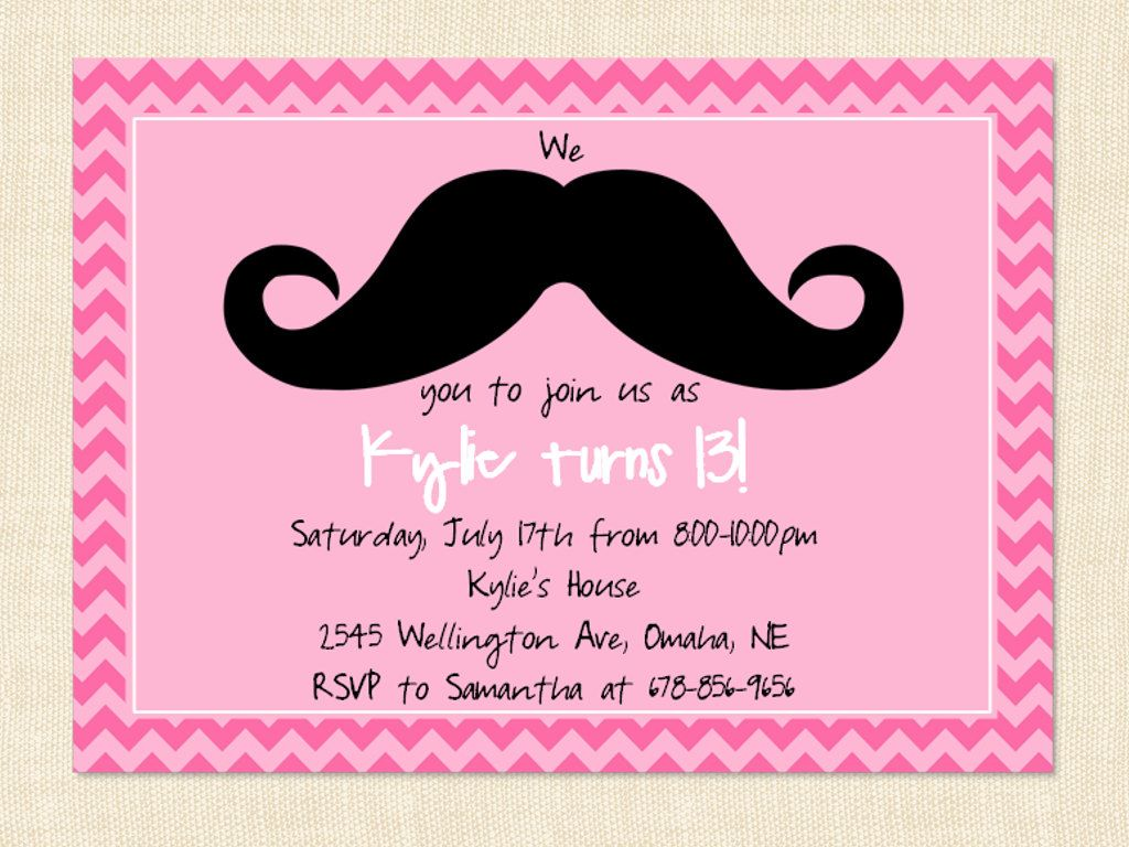 Teen girl invitation birthday mustache pink by busychickadees teen girl invitation birthday mustache pink by busychickadees 1000 monicamarmolfo Images