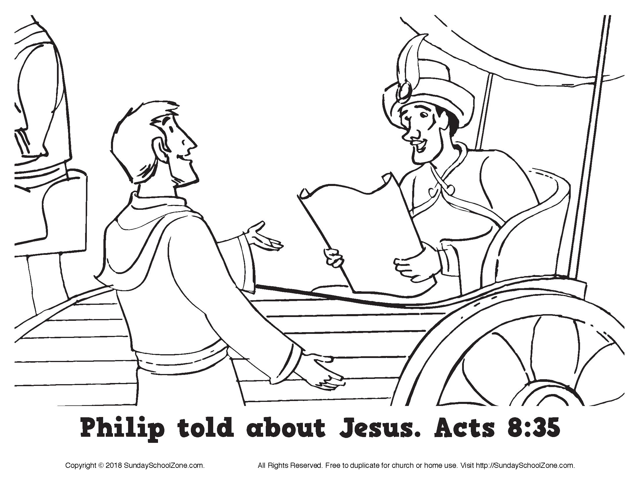 Philip Told About Jesus Coloring Page On Sunday School Zone