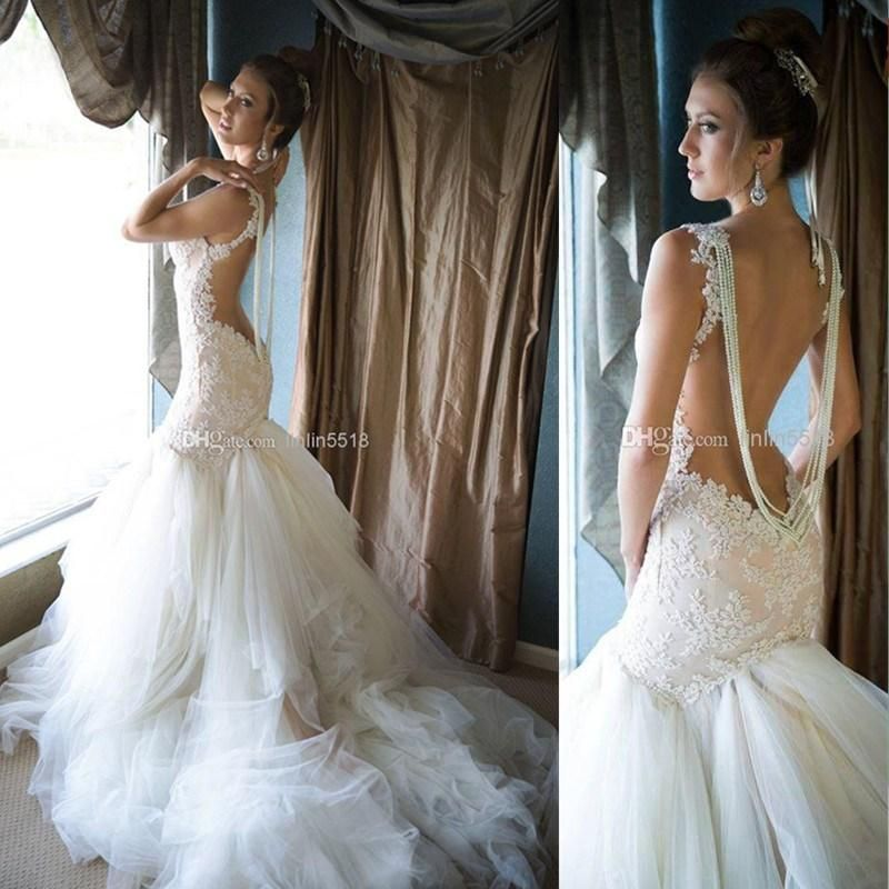 Wholesale Romantic Open Back Lace Wedding Dresses Mermaid Trumpet Sweetheart Applique Beads 2015 Chiffon Bridal Gown, Free shipping, $162.31/Piece | DHgate Mobile