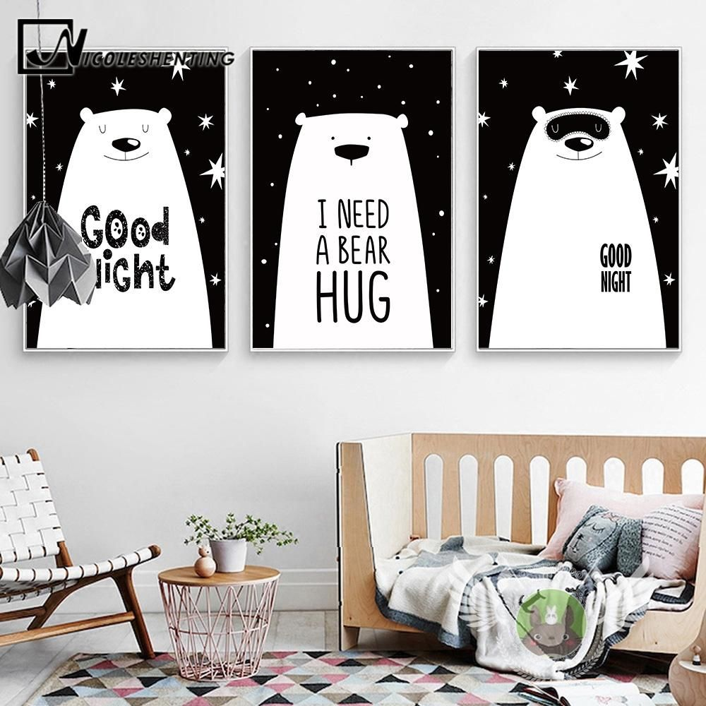 Beer Cartoon Animal Canvas Posters And Prints Black White
