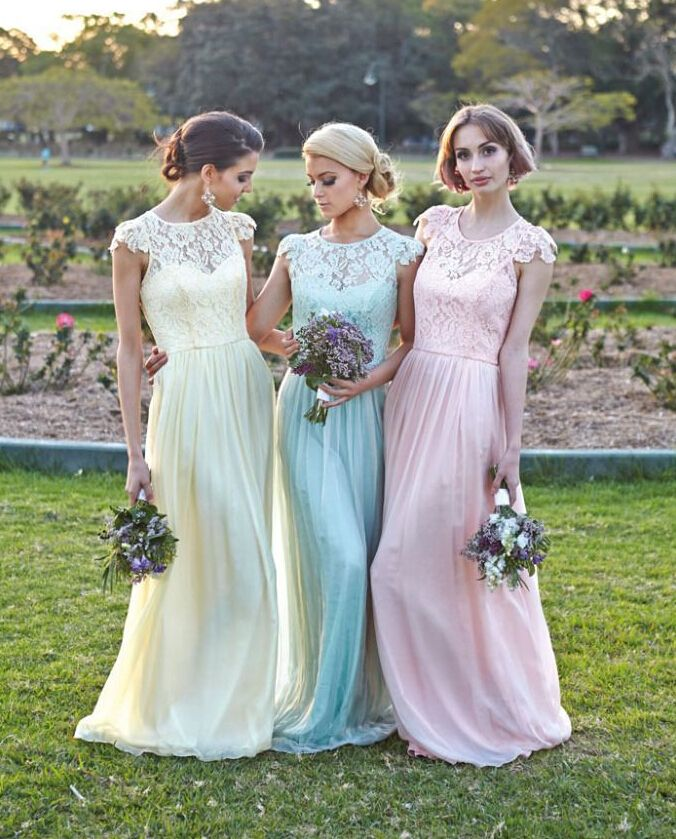 Pin By Your Wedding Shop On Pastel Thema Bruiloft Pastel Bridesmaid Dresses Lace Bridesmaid Dresses Affordable Bridesmaid Dresses