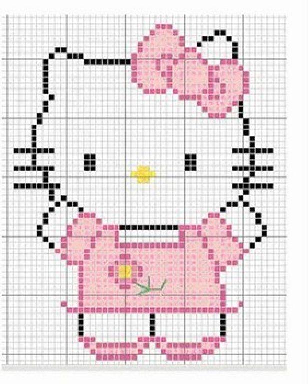 patrones punto de cruz hello kitty   Aprender manualidades es ...