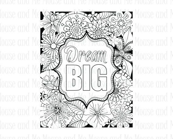 Dream Big Inspirational Quote Digital Stamp Adult Colouring