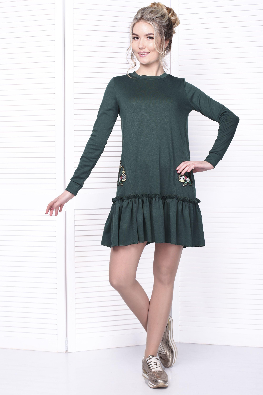 11d4856b16a Эффектное и стильное повседневное платье свободного силуэта. Платье с  воланом по низу