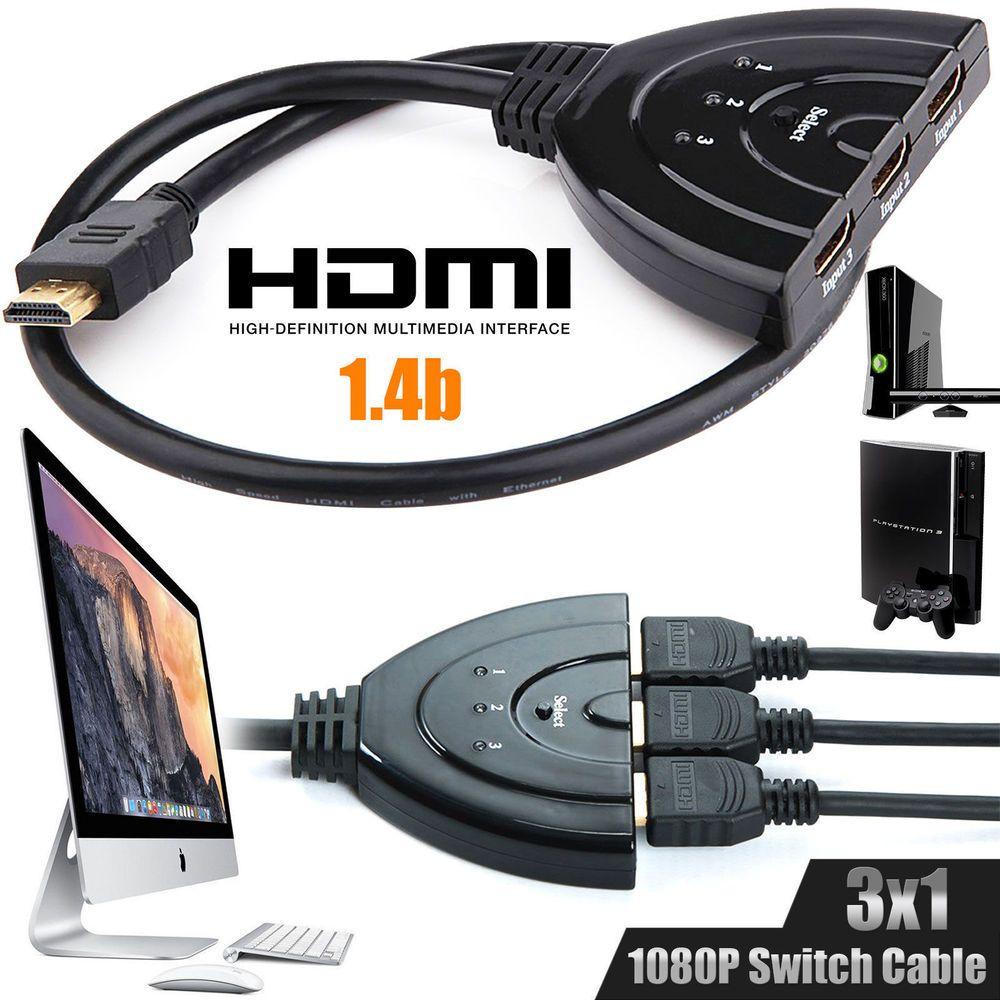 3 Port HDMI Splitter Cable 1080p Multi Switch Switcher HUB