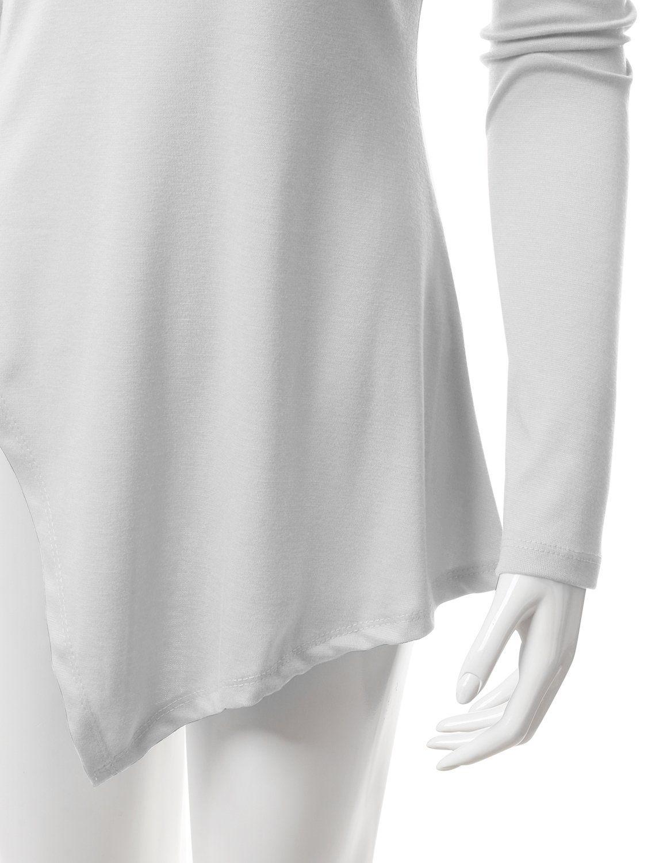 7c4d7d2a8e4 NINEXIS Womens Basic UNeck Long Sleeve Asymmetrical Hem Tunic Top WHITE 2XL  *** Click