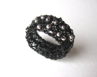 Schwarzen Draht Häkeln Perlen Bandring Double Layer Handgefertigt